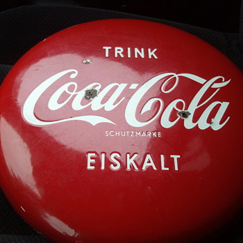 coca cola button 16in. from Germany - Coca-Cola