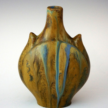 1900s Dalpayrat Stoneware Horned Form Vase w/ Blue & Brown Flambé Glaze - Art Nouveau