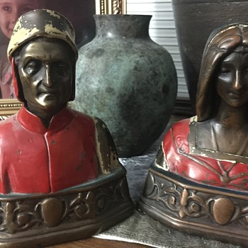 Antique Dante and Beatrice bookends - Books
