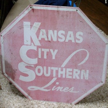 Vintage Kansas City Southern Railway sign