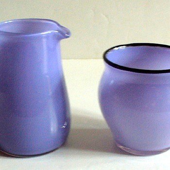LOETZ CREAMER AND SUGAR SET, MARKED - Art Glass