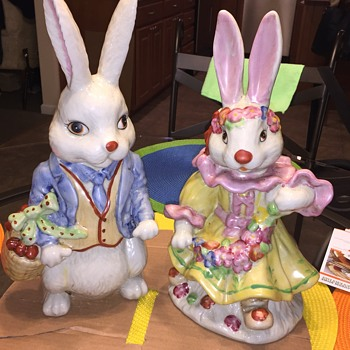 "Vintage Pair of  ceramic rabbits 14"" tall  unknow year no mfg. Mark"