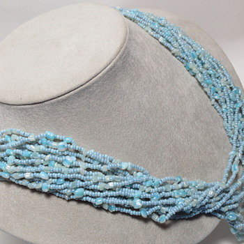 Vintage Italian Blue Glass Multi-strand Necklace Fancy Clasp - Costume Jewelry