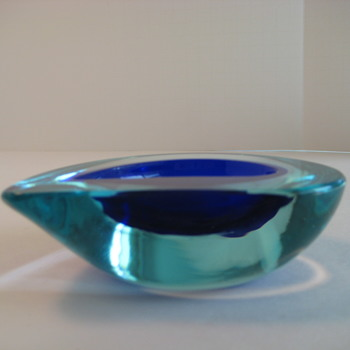 Cobalt blue and aqua blue sommerso bowl