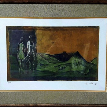 Two Nudes in Lanscape Etching Print by Karl Brandstatter