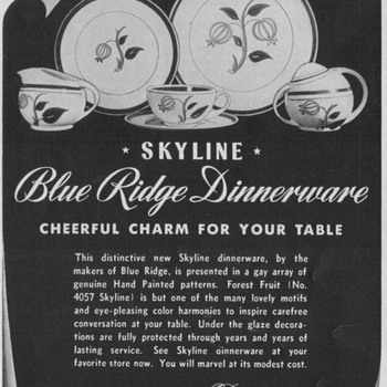 1950 Blue Ridge China Advertisement - Advertising