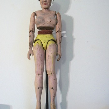 Antique Folk Art Sculpture Puppet of a Ballerina collection Jim Linderman - Folk Art