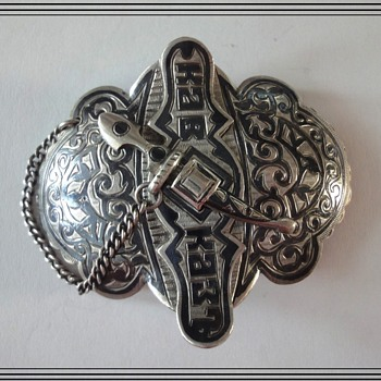 "Russian Silver Niello Belt Buckle marked ""KAVKAZ"" (Caucasus) Age 1896-1908"