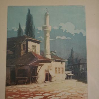 Identity of artist Grandmas Gravure orig print.