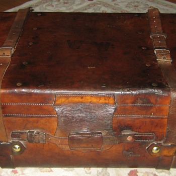 Antique English Leather Steamer Trunk - Furniture