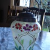 Satinized clear glass biscuit jar hand enameled