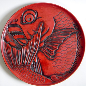 Carved Red Lacquer Plate~Deep Cut Carp design, Takito, Ogawa &amp; Co - Asian
