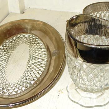 Silver Band Glass Serving Set - Glassware