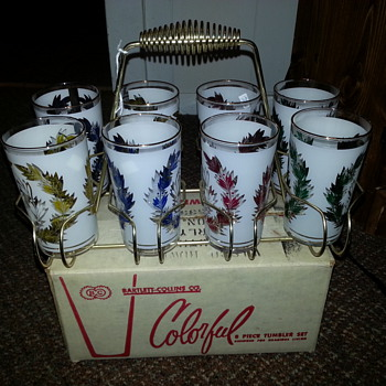 Mid-Century Glasses with Caddy and original box
