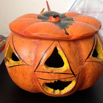 Vintage Hand Painted Signed Ceramic Halloween Pumpkin