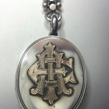 ADORABLE VICTORIAN SILVER WITH ROSE GOLD LOCKET PENDANT AND CHAIN - Fine Jewelry