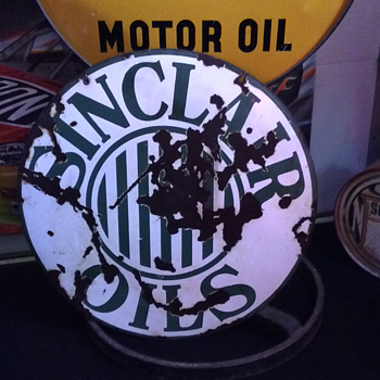 1920's Sinclair Oils  double-sided porcelain sign