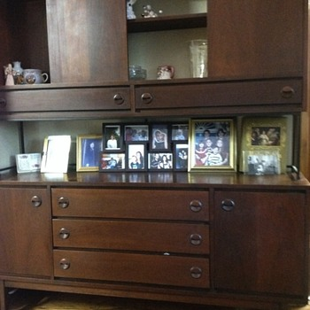 Picture of a mid century black walnut hutch and chair - Mid-Century Modern