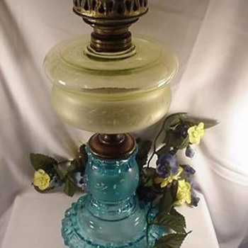 Canary and Blue Apollo Oil Lamp