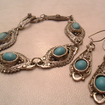 Very old bracelet and earings with turquoise stones. Age and origin help please!