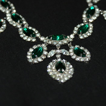 Just in Time for the Holidays:  Green and Clear Rhinestone Necklace - Costume Jewelry