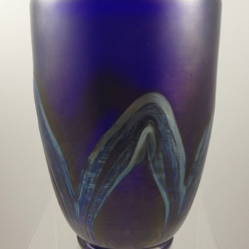Loetz Cobalt Blue Vase with thick silver bands, ca. 1936