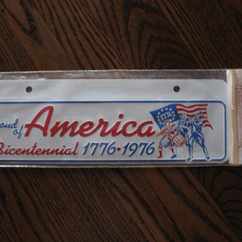 Bicentennial License Plate Sign