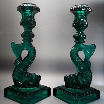 Metropolitan Museum of Art / Imperial Glass - Koi Fish Candlesticks - 1970's