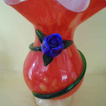 Large Red Glass Vase with applied Blue Glass Rose, Green Petals and Stem - Art Glass