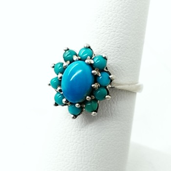 Vintage Antique? Silver Turquoise Cluster Cocktail Ring - Fine Jewelry