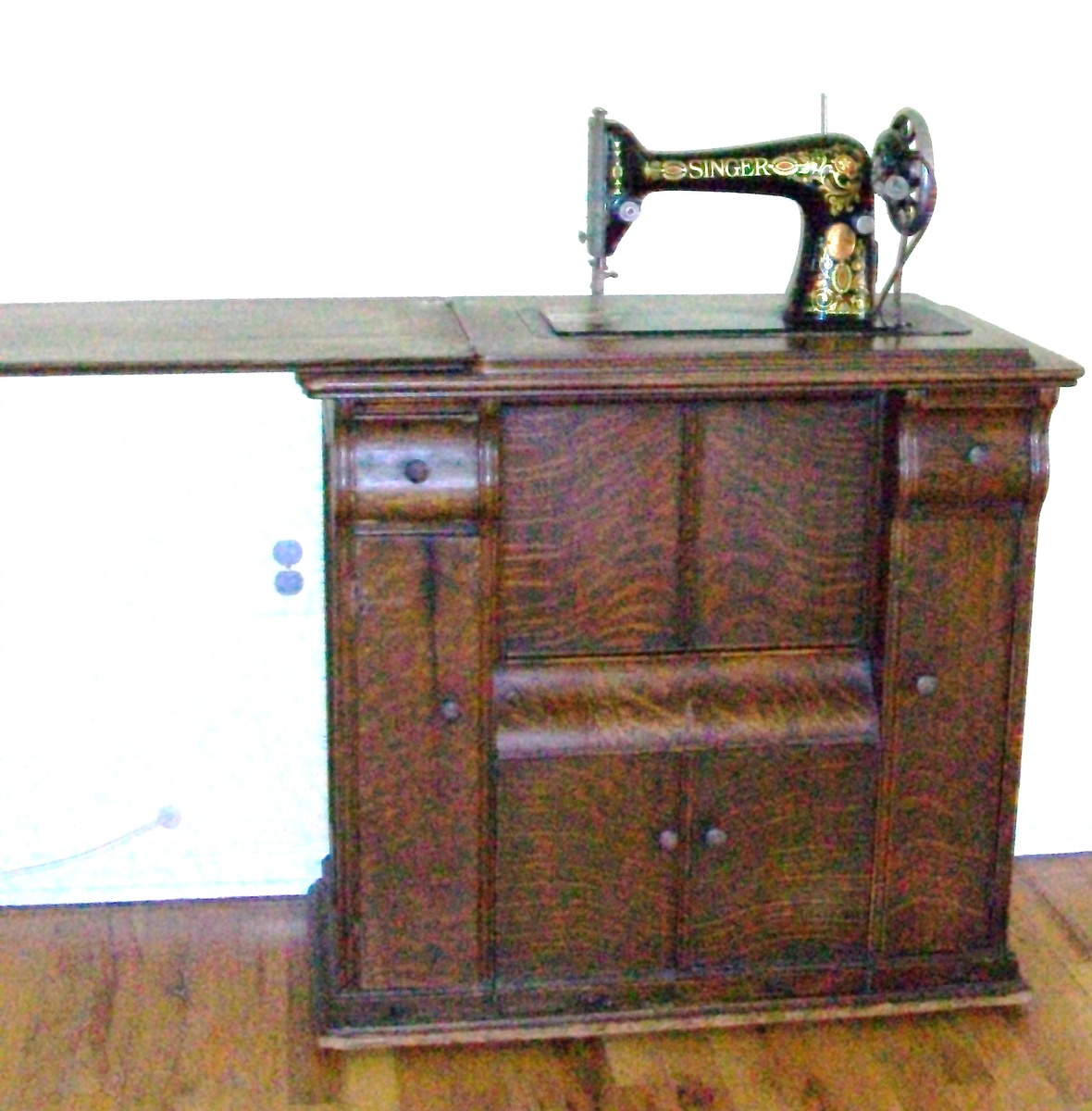 wooden singer sewing machine