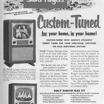 1952 - Zenith Televisions Advertisement - Advertising