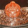 Pink Depresion Glass Vanity Set