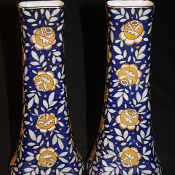 Matching Pair Czech. Cobalt Blue and Gold Vases - Art Glass
