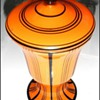 Loetz Orange Mit Schwarzen Streifen Covered Urn