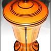Loetz Orange Mit Schwarzen Streifen Covered Urn