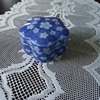 A SMALL  BLUE TRINKET BOX