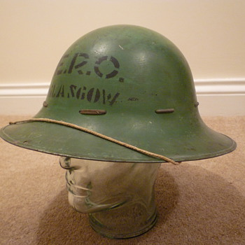 British WWII Civil Defence steel helmet. - Military and Wartime