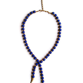 Vintage Askew London Lapis Lazuli Cabochon Snake Necklace - Costume Jewelry