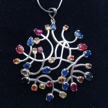 Multi Gem coloured silver pendant