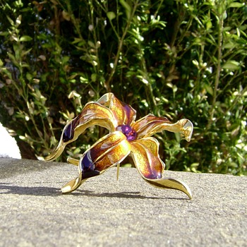 Enamel Flower Brooch - Orchid - Costume Jewelry