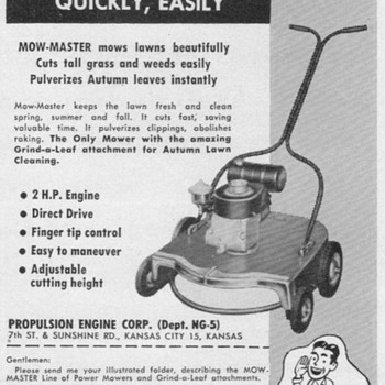 1951 - Propulsion Mow-Master Advertisement