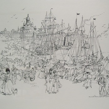 "Finnish Black Ink Drawing by Unidentified ""Famous Artist"""