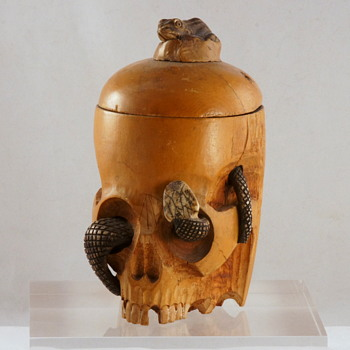 One of My Favorites - A Random Auction Purchase! - A ca. 1900 Japanese Skull and Snake Box - Complete with Snake Snack Finial!! - Asian