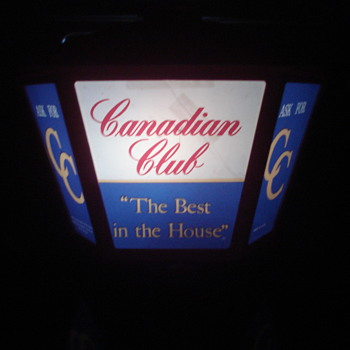 VINTAGE CANADIAN CLUB WHISKEY ADVERTISING LIGHT-UP SIGN & METAL SIGN