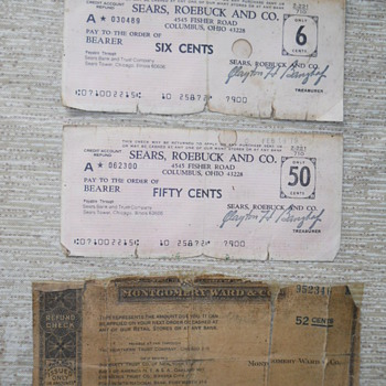 Old checks Sears & Montgomery Ward