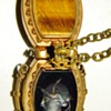 Antique Victorian Hardstone Inaglio & Tigers Eye Double Locket Fob Necklace