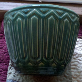 green glaze deco style pot/planter - Art Pottery