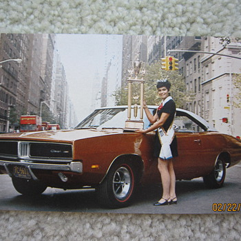 1969 Dodge Charger Postcard with Fran Garten Miss American Teen-Ager Palisades New Jersey - Postcards