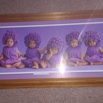 Anne Geddes The baby Photographer Purple dressed babies on a purple background print. - Visual Art